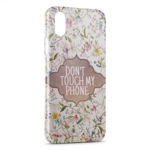 Coque iPhone XR Dont Touch My Phone Design Flowers