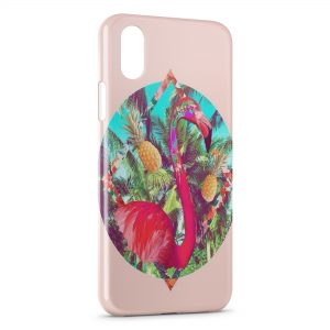 Coque iPhone XR Flamant Rose Art Design