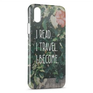 Coque iPhone XR I Read I Travel I Become