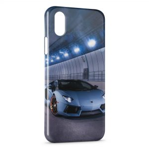 Coque iPhone XR Lamborghini Bleue Voiture