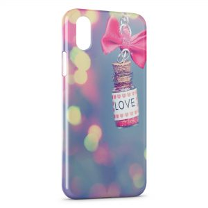 Coque iPhone XR Love Vintage Flacon Rose