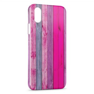 Coque iPhone XR Mur Design Planches de bois