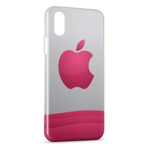 Coque iPhone XR Pink Apple Logo
