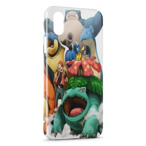 Coque iPhone XR Pokemon Group Sacha Pikachu Tortank Bulbizarre