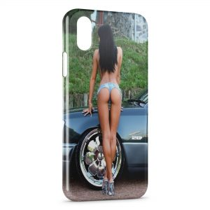 Coque iPhone XR Sexy Girl voiture tunning