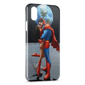 Coque iPhone XR Superman & Super Girl