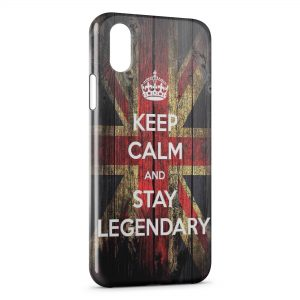 Coque iPhone XS Max Anglais Keep Calm and Stay Legendary
