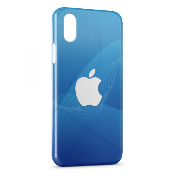 Coque iPhone XS Max Apple Blue & White