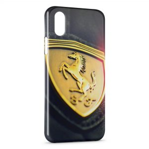 Coque iPhone XS Max Ferrari Logo Design Voiture 3