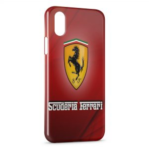 Coque iPhone XS Max Ferrari Red Logo Design