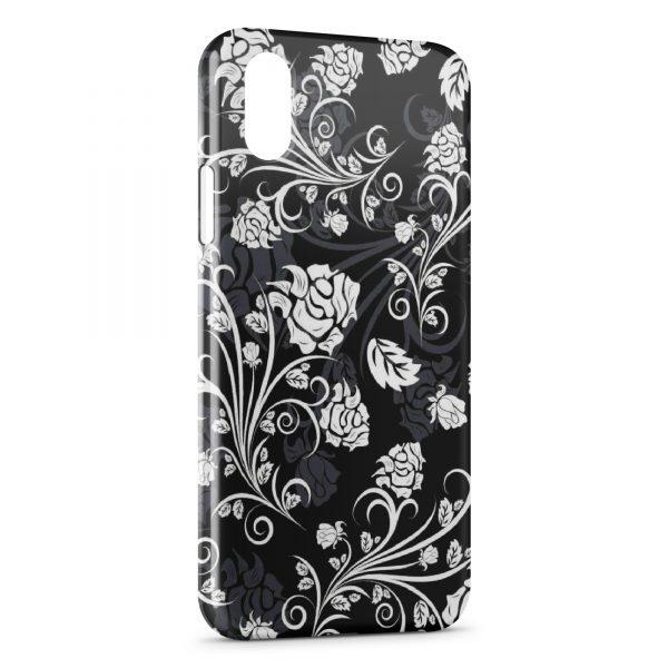 Coque iPhone XS Max Fleurs Black & White Design