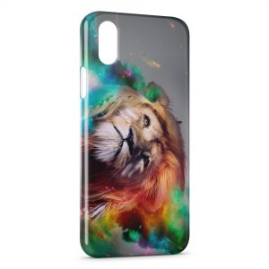 Coque iPhone XS Max Lion Abstract