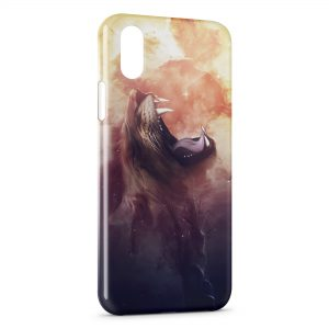 Coque iPhone XS Max Lion Hurlement