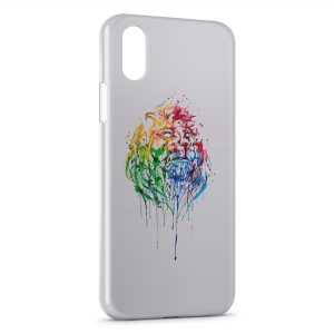 Coque iPhone XS Max Lion Paint Art