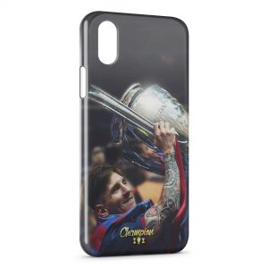 Coque iPhone XS Max Lionel Messi Football Champion
