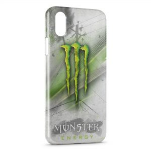 Coque iPhone XS Max Monster Energy Grey & Green