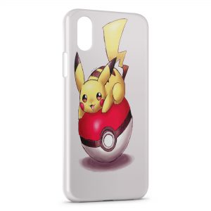 Coque iPhone XS Max Pikachu Pokeball Pokemon Dessin