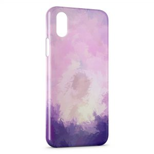Coque iPhone XS Max Plumes Violettes Paint