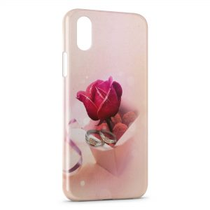 Coque iPhone XS Max Rose & Bagues