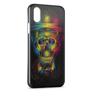 Coque iPhone XS Max Tete de Mort MultiColors