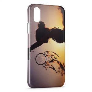 Coque iPhone XS Max attrape rêve fille coucher de soleil